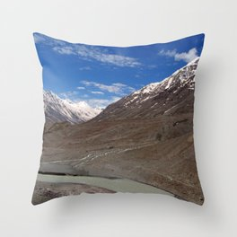 The Chandra River in the Lahaul Valley Throw Pillow