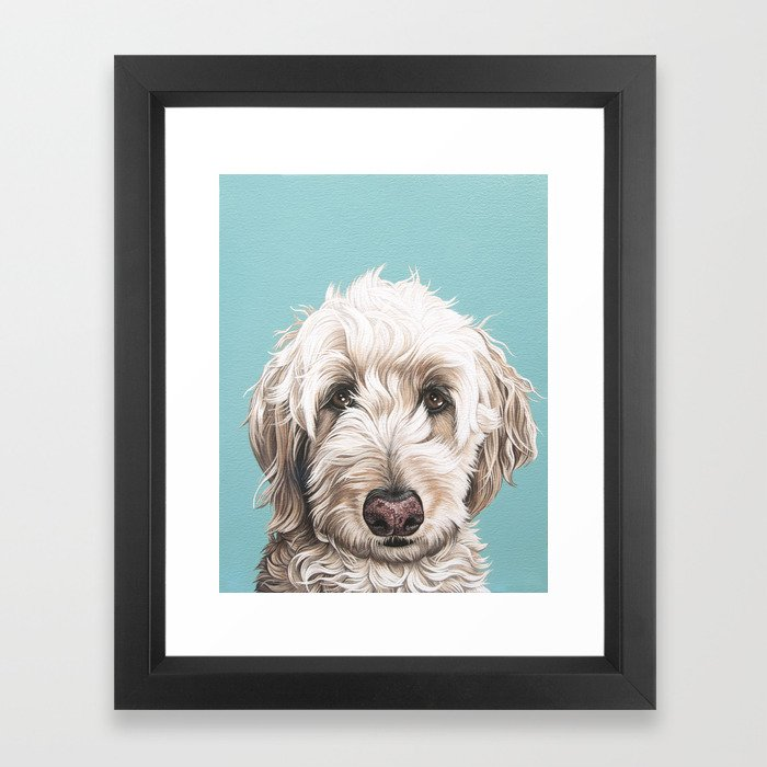 Sweet and Soulful Labradoodle Painting, Labradoodle Artwork, Portrait of a Champagne Labradoodle Framed Art Print