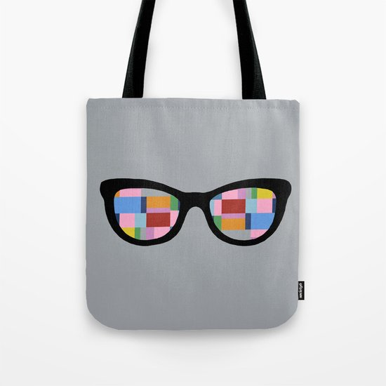 Square Eyes on Grey Tote Bag