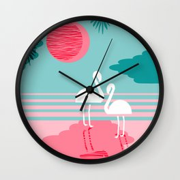 Chill Vibes - memphis retro throwback 1980s 80s neon pop art flamingo paradise socal vacation Wall Clock