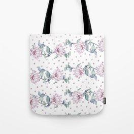 Rose Gold Roses Polka Dots Tote Bag