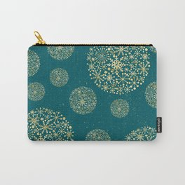 Snowflakes Teal And Golden #society6 #buyart Carry-All Pouch