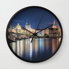 Charle's Bridge at Night Wall Clock