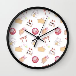 kawaii japanese culture shrine pattern Wall Clock