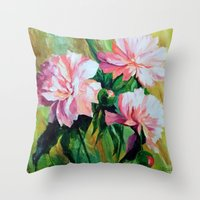 peonies Throw Pillows featuring Peonies by OLHADARCHUK
