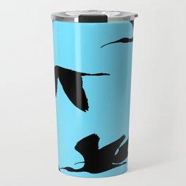 Silhouette of Glossy Ibises In Flight Travel Mug