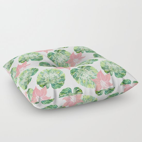 Floor Pillows Society6 : Monstera + Pink #society6 #decor #pattern Floor Pillow by 83 Oranges Society6