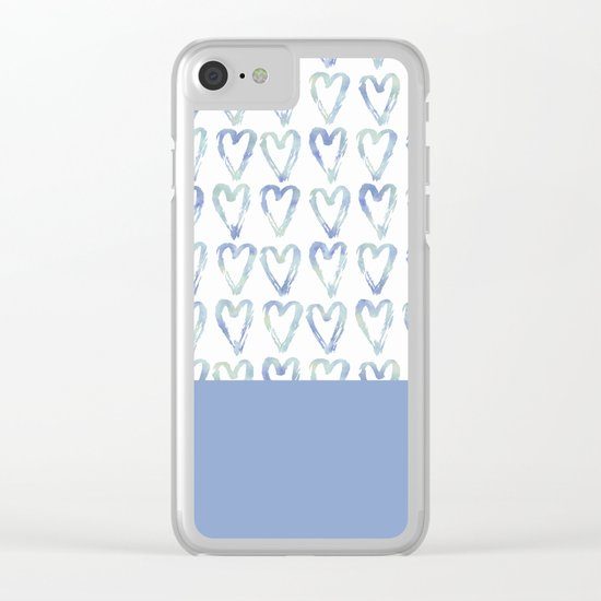 Heart Pattern Blue Clear iPhone Case