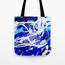 Blue & White Abstract Tote Bag