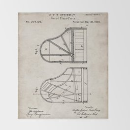 Steinway Grand Piano Patent - Piano Player Art - Antique Throw Blanket