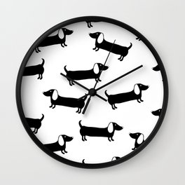 Cute dachshunds in black and white Wall Clock