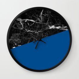 Black marble and lapis blue color Wall Clock