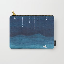 Falling stars, blue, sailboat, ocean Carry-All Pouch