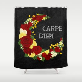 Crescent Bloom | Red roses and lemons Shower Curtain