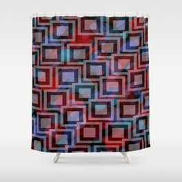 Black and White Squares Pattern 01 Shower Curtain