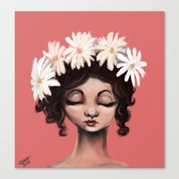 daisies Canvas Prints featuring Daisies by Jaleesa McLean