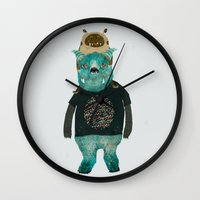 cookie Wall Clocks featuring cookie and big blue by bri.buckley