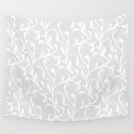 Pastel gray white abstract vintage damask pattern Wall Tapestry