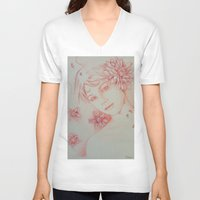 leah flores V-neck T-shirts featuring Flores. by marmaseo