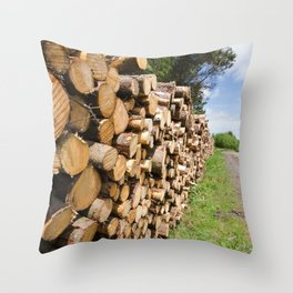 The wood stack Throw Pillow