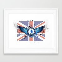 chelsea fc Framed Art Prints featuring Chelsea FC by Future Illustrations- Artwork by Julie C