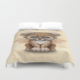 Cute Leopard Cub Fairy Wearing Glasses Duvet Cover