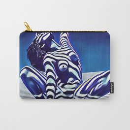 9124s-KMA Powerful Nude Woman Open and Free Striped in Blue Carry-All Pouch