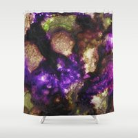 geode Shower Curtains featuring Geode I, Ametrine by Titania Designs