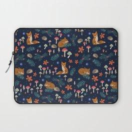 Fox and Hedgehog in Toadstool Woods In Blue Laptop Sleeve