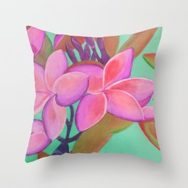Pink Flowers Pink Throw Pillow
