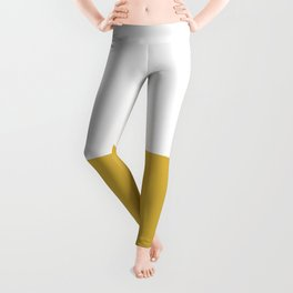 Mustard Yellow and White Minimalist Color Block Solid Half and Half Leggings