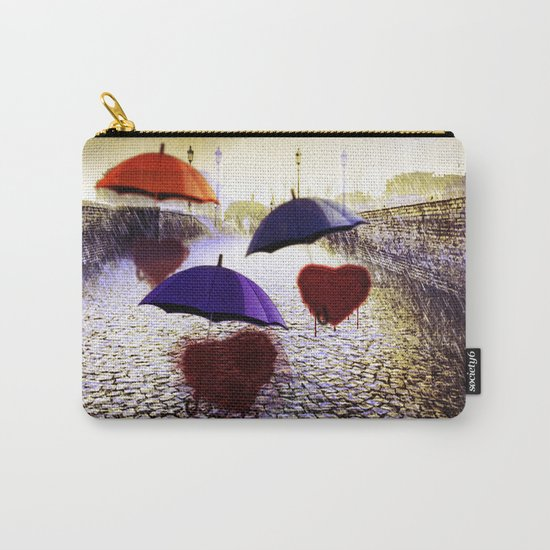 Three Lonely Hearts In the Rain Carry-All Pouch