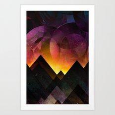 Whimsical mountain nights Art Print