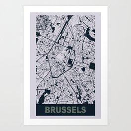 Brussels, Belgium, city map, Mischka grey Art Print