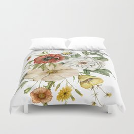 Wildflower Bouquet on White Duvet Cover