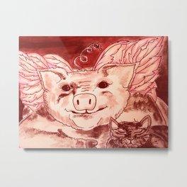 Pig n' Puss Metal Print