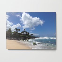 Stunning Beach and Cliffs with Waves Crashing Metal Print