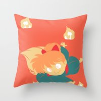inuyasha Throw Pillows featuring Fox Magic by Aspen Bear