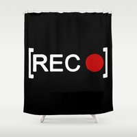 parks and rec Shower Curtains featuring Record button - [REC] by Alisa Galitsyna