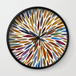 Watercolor Burst – Retro Palette Wall Clock