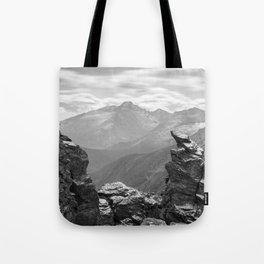 LONGS PEAK BLACK & WHITE COLORADO ROCKY MOUNTAIN NATIONAL PARK LANDSCAPE PHOTOGRAPHY Tote Bag