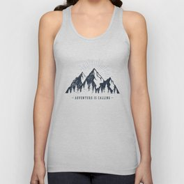 Mountains. Adventure Is Calling Unisex Tank Top