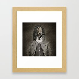 Afghan hound wearing a Louis XIV suit Framed Art Print