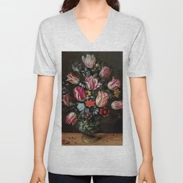"""Andries Daniels and Frans Francken the Younger """"Vase with Tulips"""" Unisex V-Neck"""