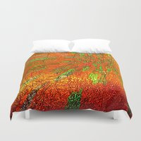 metallic Duvet Covers featuring Metallic sun by Lydia Cheval
