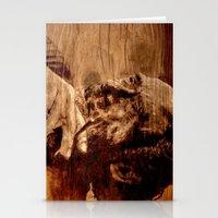 bukowski Stationery Cards featuring Charles Bukowski - wood - quote by ARTito