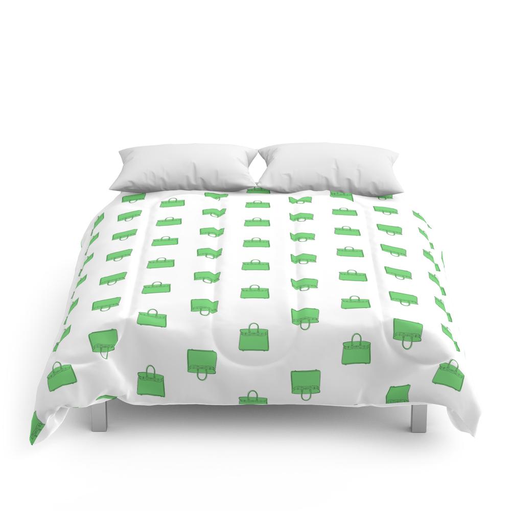 Green Birkin Vibes High Fashion Purse Illustration Comforter (CFM8661511) photo
