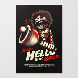 HELLO! HELLO! (black) Canvas Print