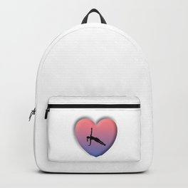 Bevelled 3D Heart Shape with Yoga Girl in a Side Plank Posture Backpack