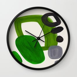 Minimalist Modern Mid Century Colorful Abstract Shapes Olive Green Retro Funky Shapes 60's Vintage Wall Clock
